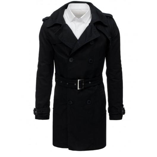 Elegantný čierny pánsky kabát s opaskom a na dvojradové zapínanie