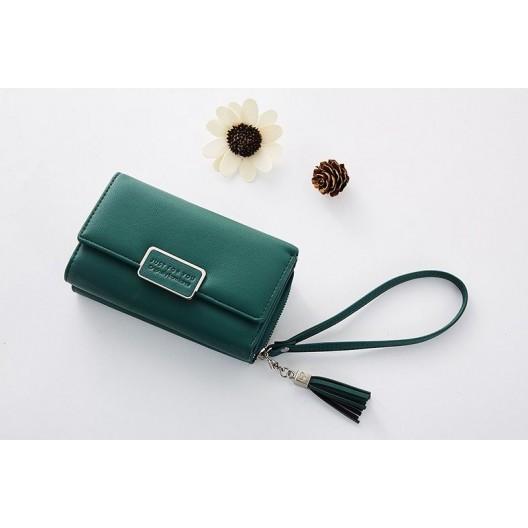 Módna zelená peňaženka na zips a cvok s ozdobnou rúčkou a retiazkou