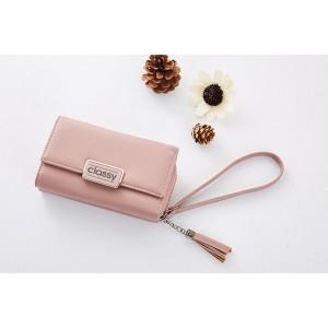 Ružová dámska peňaženka na zips a cvok s ozdobnou retiazkou