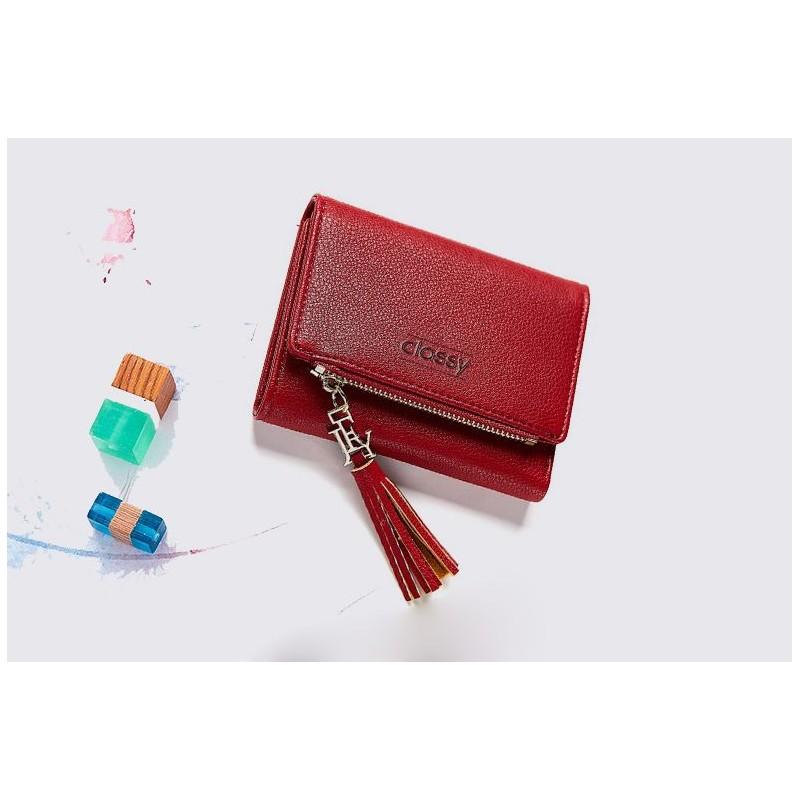2467db8377 Červená dámska malá peňaženka s ozdobným strapcom