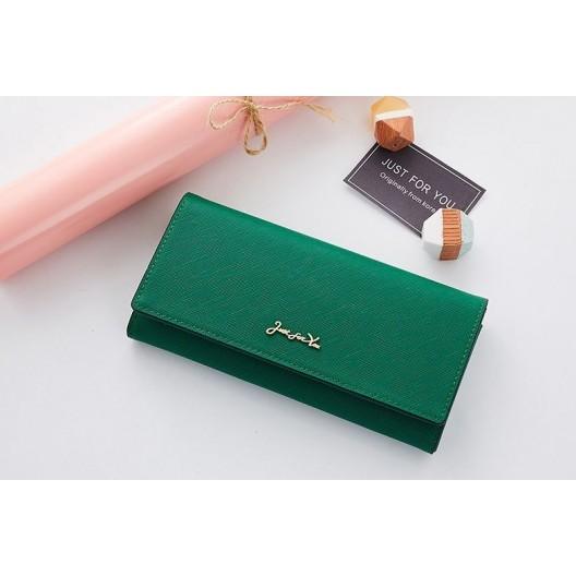Štýlová smaragdovo zelená listová dámska peňaženka