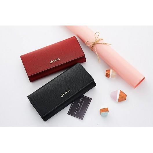 Originálna červená dámska peňaženka so zlatým nápisom just for you