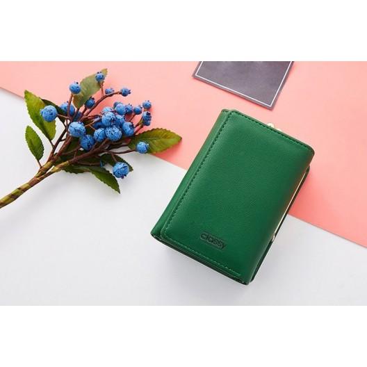 Dámska peňaženka v zelenej farbe s rámčekovým uzatváraním na mince