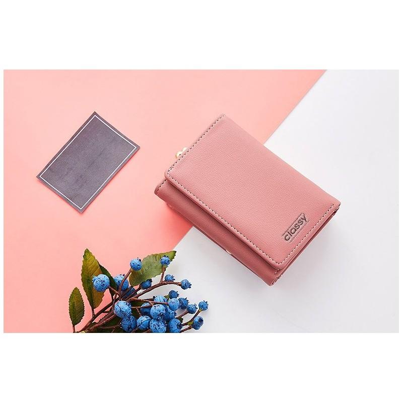 0eb5f8be94 Štýlová dámska ružová peňaženka na rámčekové uzatváranie mincí