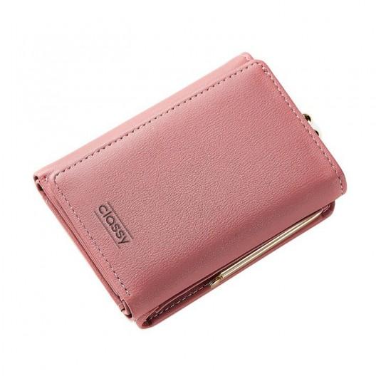 Štýlová dámska ružová peňaženka na rámčekové uzatváranie mincí