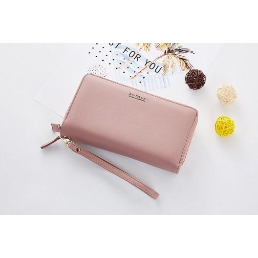 Svetlo ružová dámska veľká peňaženka na zips s nápisom just for you