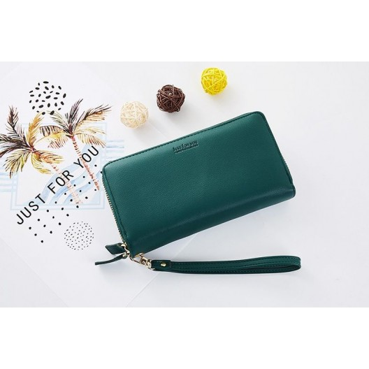 Štýlová veľká zelená dámska peňaženka na zips s ozdobnou rúčkou