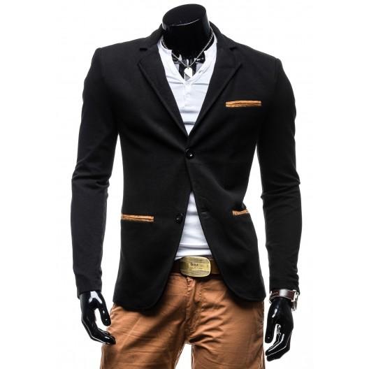 Moderné pánske sako čiernej farby s hnedými lakťovými nášivkami