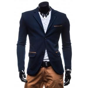 Štýlové pánske sako tmavo-modrej farby s hnedými lakťovými nášivkami