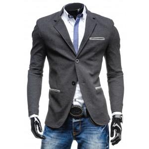 Moderné pánske sako antracitovej farby so sivým lemovaním