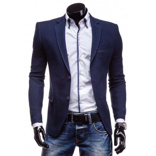 Štýlové pánske sako tmavo-modrej farby s dvojitým zapínaním