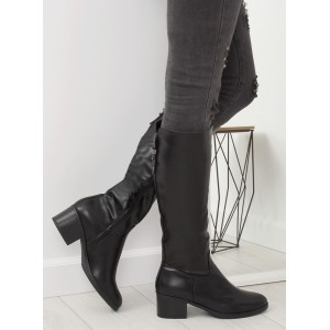 75403fdb74ba Čierne dámske čižmy pod kolená s dizajnovou prackou v zadnej časti