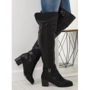 Dámske čierne vysoké čižmy nad kolená s ozdobnou striebornou prackou