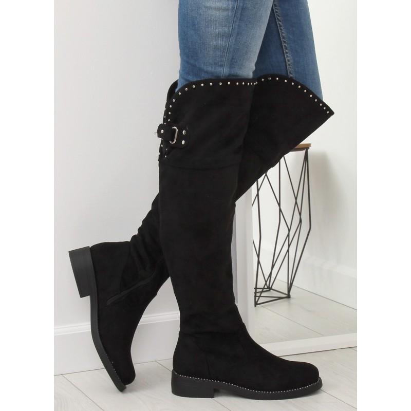 Semišové dámske čierne čižmy nad kolená so striebornými kamienkami a338162af3e