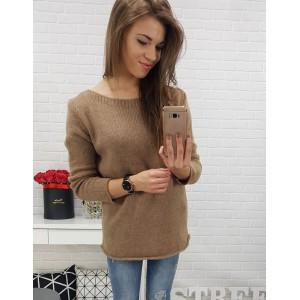 Elegantný dámsky sveter hnedej farby