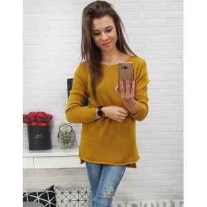 Luxusný dámsky sveter horčicovej farby