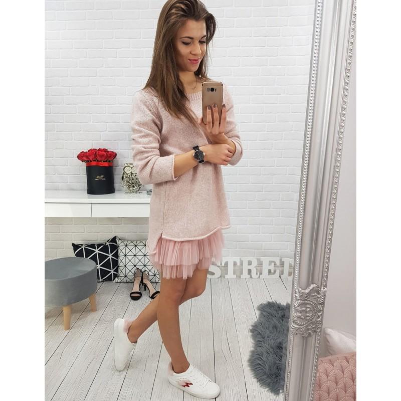 cb2ae5d1e7df Pletený dámsky ružový sveter
