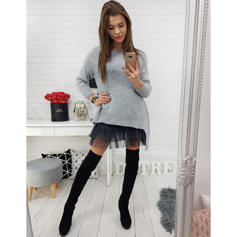 226d6b3a0339 Pletený sveter pre dámy vo svetlo sivej farbe