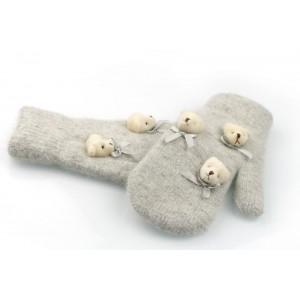 Rukavice v sivej farbe s medvedíkmi