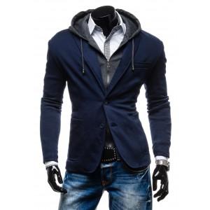 Moderné pánske sako tmavo-modrej farby so sivou kapucňou