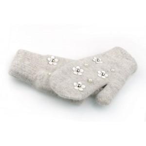 Zimné dámske rukavice na zimu s perlami