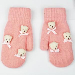 Ružové rukavice dámske s medvedíkmi