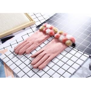 Dámske zateplené ružové rukavice s pompónmi