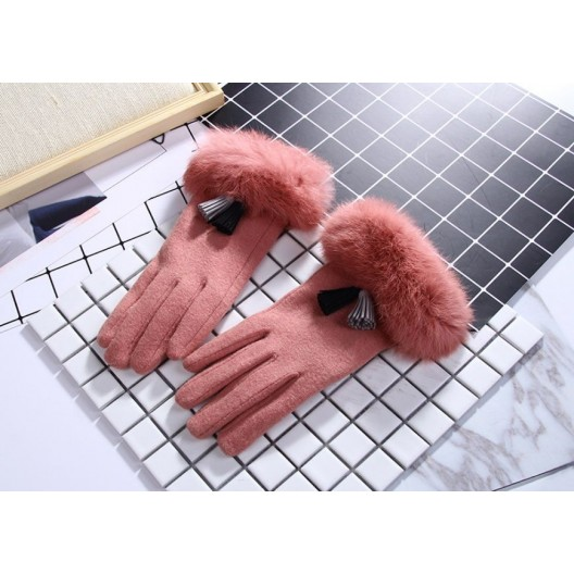Ružové zimné dámske rukavice s kožušinou