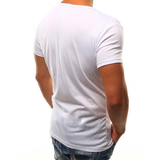 Jednofarebné pánske tričko bielej farby