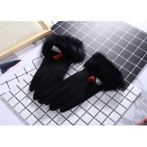 Zimné rukavice pre dámy v čiernej farbe s kožušinou