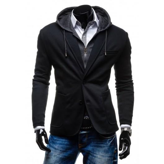 Exkluzívne pánske sako čiernej farby s dvojitým zapínaním a a kapucňou