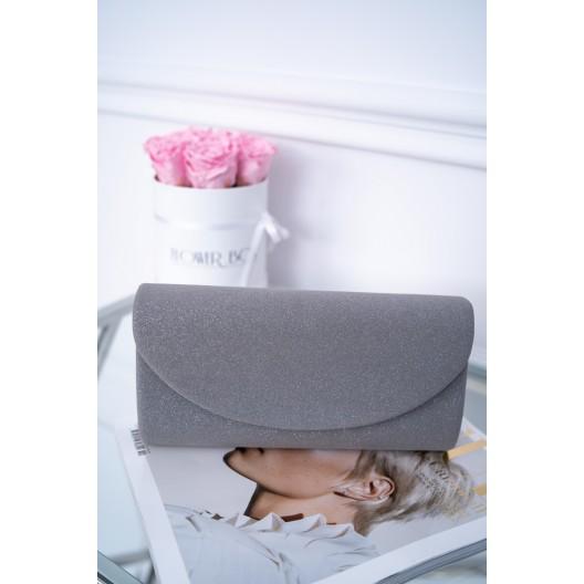 Elegantná dámska listová kabelka v sivej farbe so strieborným leskom