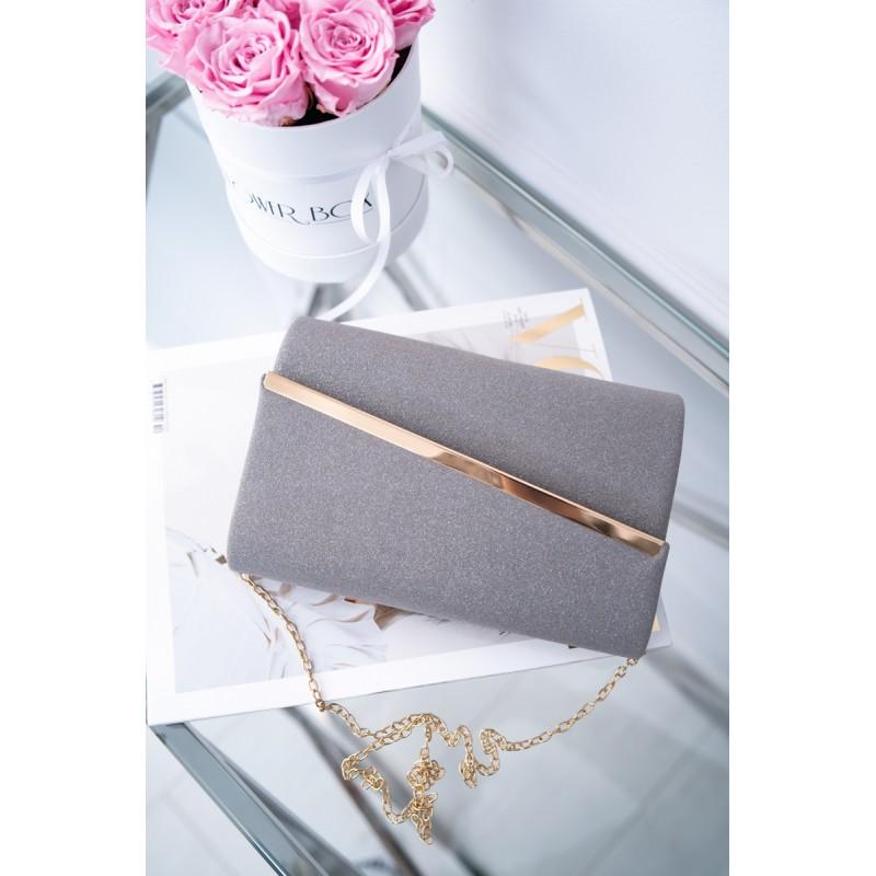 d8744a95924a Listová dámska kabelka sivo-strieborná so zlatou aplikáciou a retiazkou