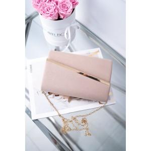 Spoločenská brokátová listová kabelka v svetlo-ružovej farbe