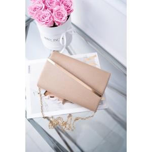 Brokátová dámska běžová listová kabelka so zlatou sponou a retiazkou