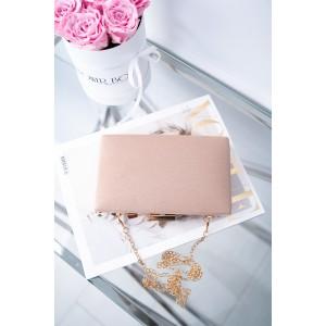 Elegantná ružová listová kabelka s leskom na zlaté rámčekové zapínanie
