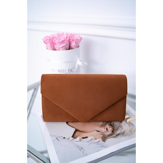 Štýlová dámska listová kabelka v zamate v originálnej horčicovej farbe