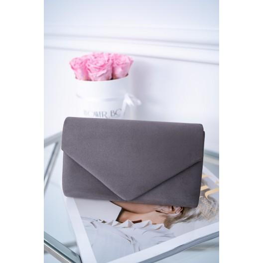 Sivá zamatová dámska listová kabelka so zapínaním na magnet