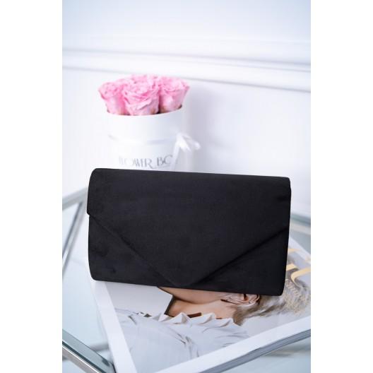 Čierna zamatová spoločenská kabelka do ruky so striebornou retiazkou