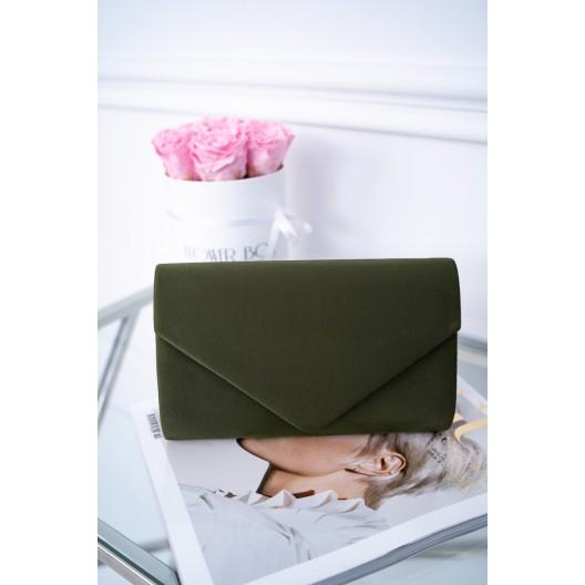 Módna dámska zamatová kabelka do ruky v trendy zelenej farbe
