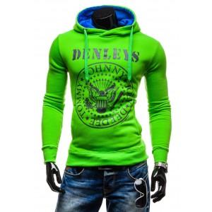 Pánske moderné mikiny zelenej farby s kapucňou