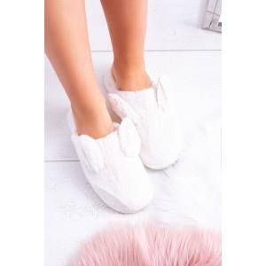 Originálne biele dámske nasúvacie papuče s uškami