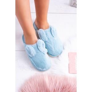 Modré chlpaté dámske papuče s ozdobnými uškami