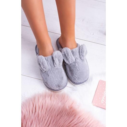 Dámske nasúvacie teplé papuče v šedej farbe s ozdobnými uškami