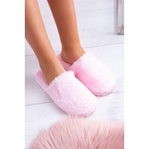 Ružové dámske chlpaté papuče na doma