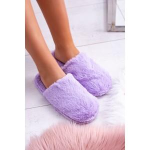 Teplé dámske nasúvacie papuče v trendy fialovej farbe