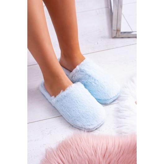Dámske papuče na doma v svetlo-modrej farbe