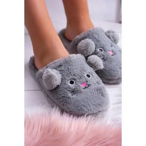 Dámske nasúvacie papuče v šedej farbe s motívom myšky s ušami