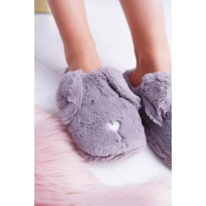 Originálne dámske nasúvacie sivé papuče s motívom spiaceho psíka