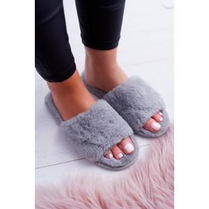 Dámske chlpaté papuče s otvorenou špičkou v sivej farbe